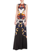 Sleeveless Butterfly-Print Jersey Gown, Multicolor