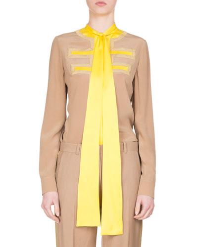 Silk Crêpe de Chine Tie-Neck Shirt, Camel