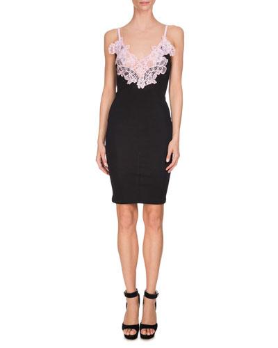 Contrast-Lace Slip Dress, Pink/Black