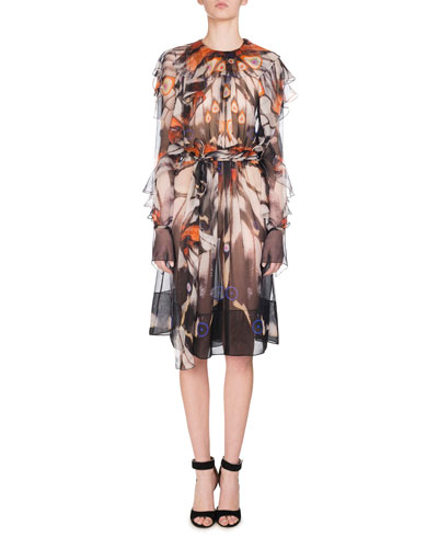 Butterfly-Print Belted Chiffon Dress, Multicolor