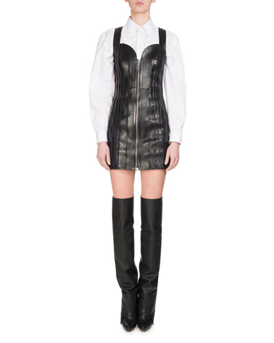 Lamb Leather Bustier Zip-Front Dress, Black