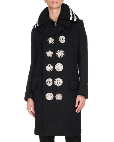 Crystal-Button Double-Breasted Coat, Black