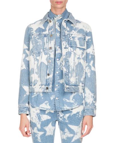Bleached Stars Denim Jacket, Light Blue