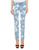 Bleached Stars Skinny Jeans, Light Blue