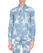 Bleached Stars Denim Shirt, Light Blue