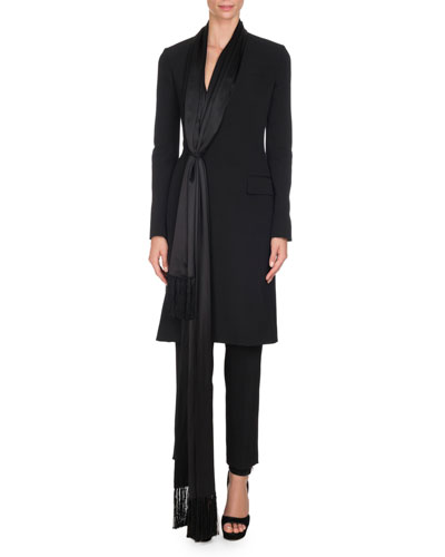 Wool Jacket with Satin Fringe Scarf, Black