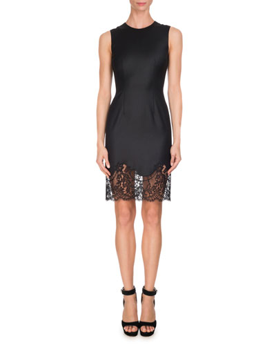 Sleeveless Wool Lace-Hem Minidress, Black