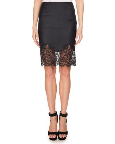 Lace-Hem Wool Pencil Skirt, Black
