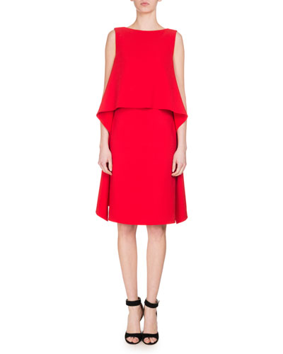 Cady Sleeveless Popover Dress, Red