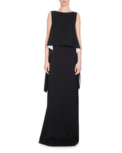 Cascade-Side Gown, Black/White