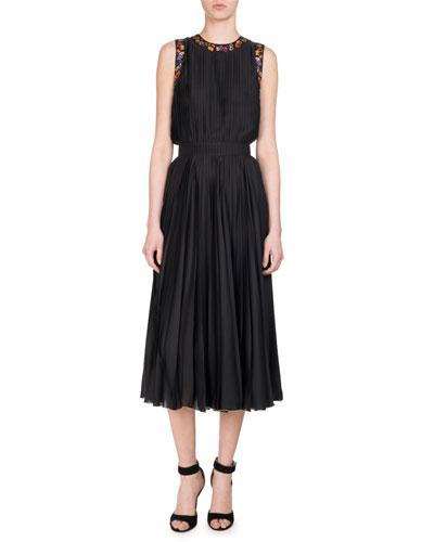 Pansy-Print Pleated Charmeuse Midi Dress, Black