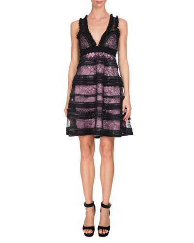 Sleeveless V-Neck Tiered Lace Dress, Black/Pink
