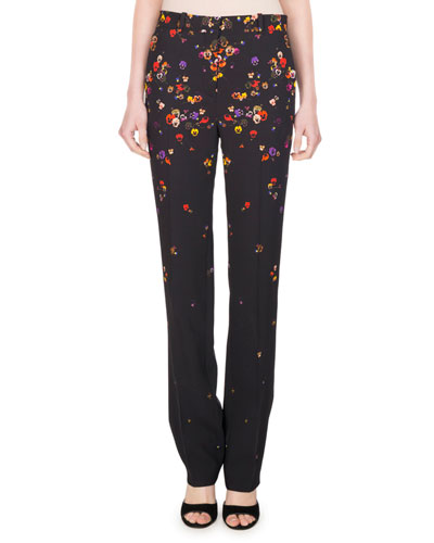 Pansy-Print Cady Straight-Leg Pants, Black