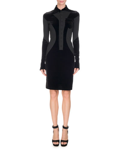 Collared Jersey & Velvet Dress, Black