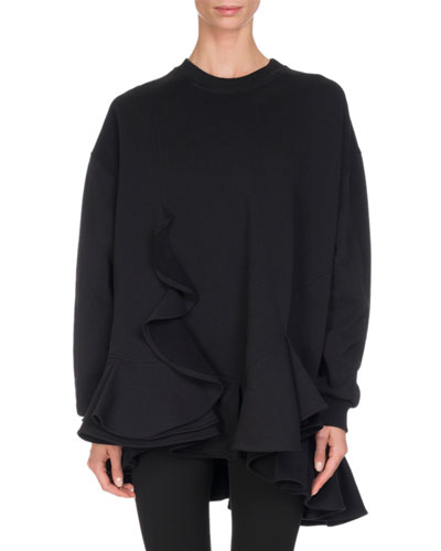 Cotton Ruffle-Hem Sweatshirt, Black
