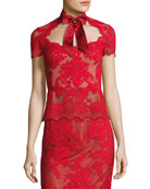 Lace Top with Satin Necktie