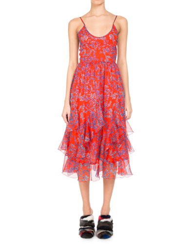 PASCAL MILLET Floral-Print Chiffon Ruffle-Hem Midi Dress, Orange in Orange Pattern
