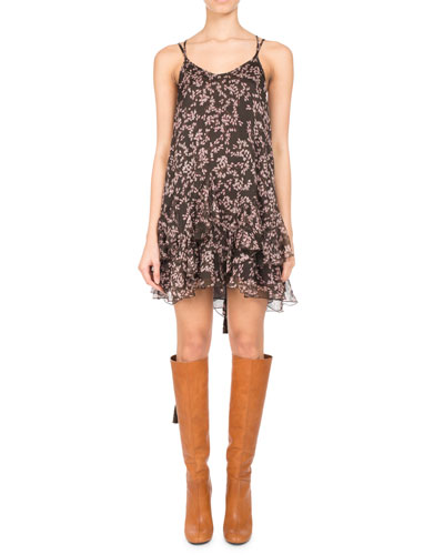 PASCAL MILLET Floral-Print Chiffon Ruffle-Hem Minidress, Brown in Brown Pattern