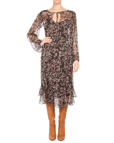 PASCAL MILLET Floral-Print Chiffon Long-Sleeve Midi Dress, Brown in Brown Pattern