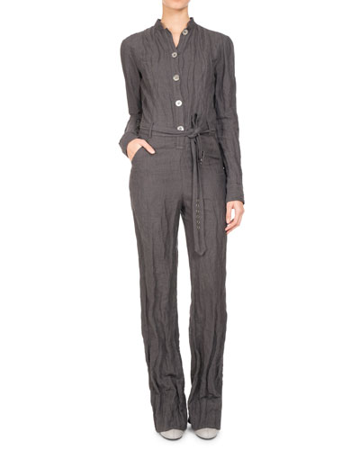 PASCAL MILLET Long-Sleeve Belted Button-Front Jumpsuit in Gray