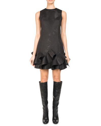 Sleeveless Ruffle-Hem Minidress, Black