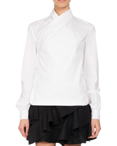 Button-Front Poplin Wrap Blouse, White