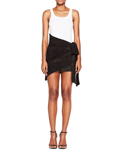 Asymmetric Suede Wrap Skirt