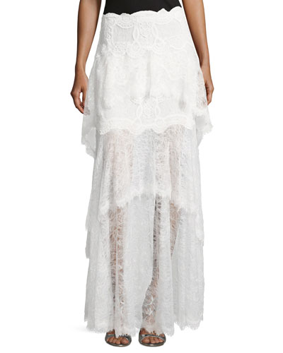 Tiered Dimensional Lace Maxi Skirt
