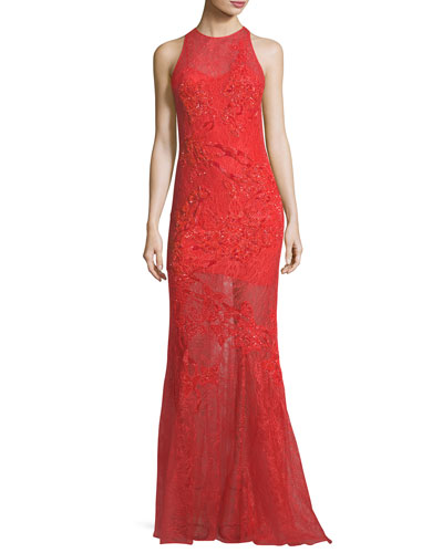 Sleeveless Sequined Lace Asymmetric Gown