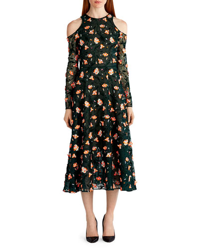 Floral-Embroidered Cold-Shoulder Dress, Black Pattern