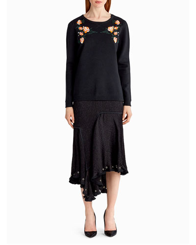 Embroidered Wool-Blend Sweater, Black