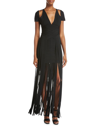 Cold-Shoulder Fringe-Skirt Bandage Dress, Black