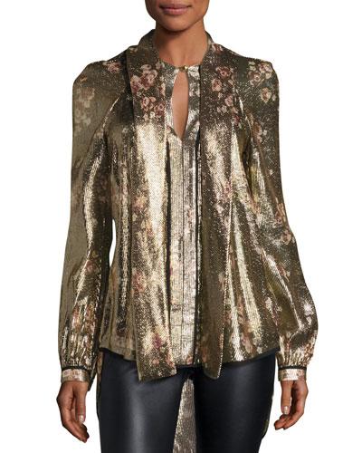 Diane Metallic Floral Tie-Neck Blouse, Gold