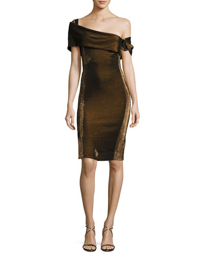 Emily Off-the-Shoulder Metallic Cocktail Dress