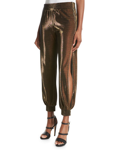 Halle Metallic Side-Slit Harem Pants, Yellow