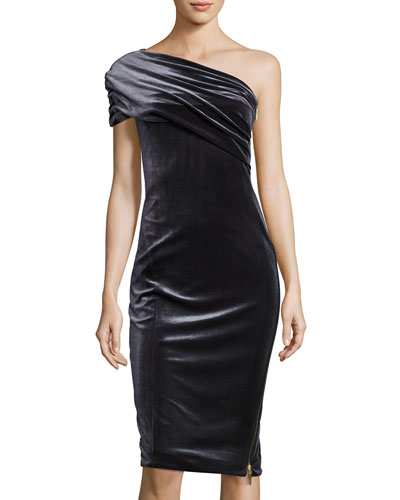 Alexandria Velvet One-Shoulder Cocktail Dress, Gray