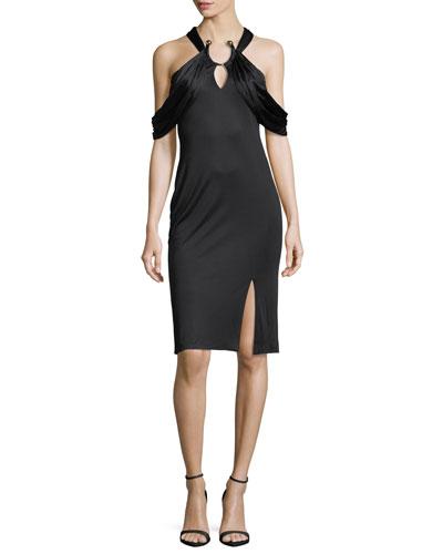 Eva Cutout Ring-Detail Sheath Dress, Black