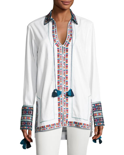 Embroidered Cotton Button-Front Tunic, Ivory
