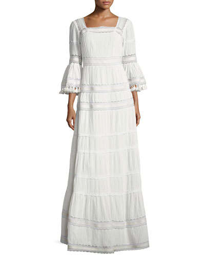 Embroidered Cotton Prairie Maxi Dress, Ivory