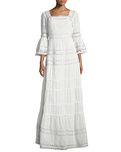 Embroidered Cotton Prairie Maxi Dress, Ivory