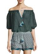 Off-the-Shoulder Cotton-Silk Tassel Tie Blouse, Navy