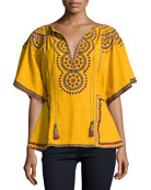 Anaya Embroidered Cotton Kimono-Sleeve Top, Marigold