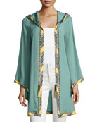 Striped-Border Hoodie Short Robe, Green