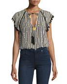 Striped Pompom-Trim V-Neck Blouse, Black/White