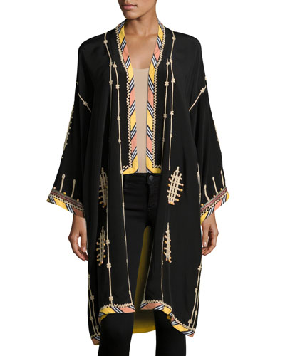 Embroidered Long Silk Kimono Coat, Black