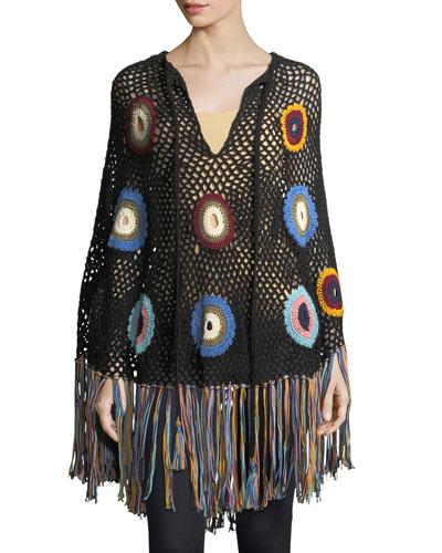 Hand-Crocheted Fringe Poncho