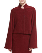 Chenille Cropped Jacket, Dark Red