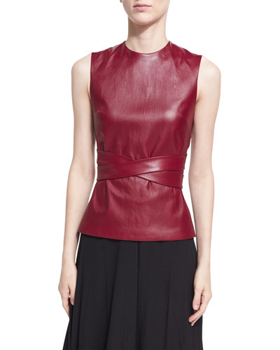 Leather Apron-Front Vest, Dark Red