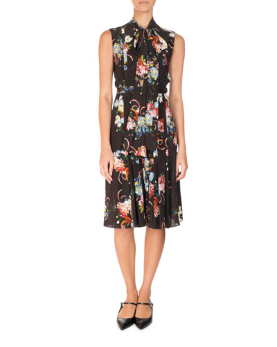 Floral-Print Sleeveless Tie-Neck Silk Midi Dress, Black