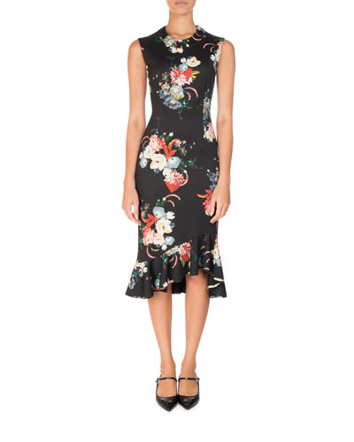 Floral-Print Sleeveless Neoprene Flounce Dress, Black